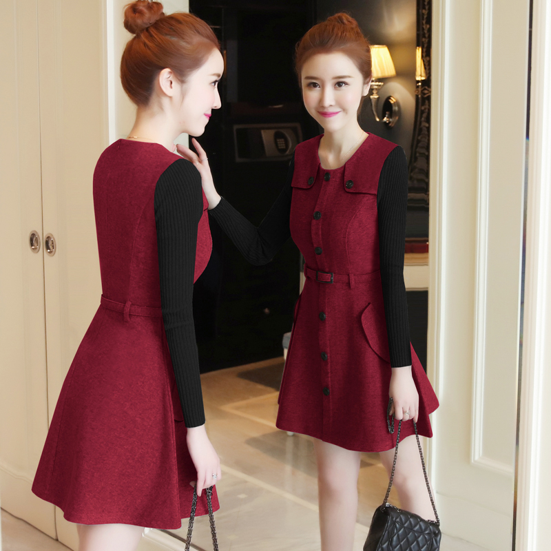 winter new round collar single-breasted cloth dress belt buttons A word women dresses Korean fashion outfit lady vogue vestido 3