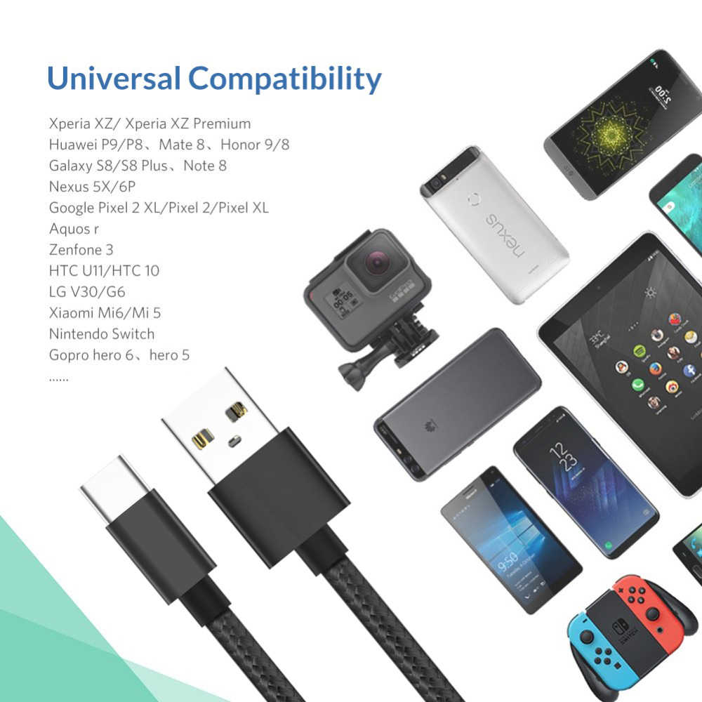 Cáp USB Type C Sạc Nhanh USB C Dữ Liệu Dây USB-C Cho Samsung S10 S9 S8 Tiểu mi Mi 8 A2 Đỏ MI Note 7 Loại-C