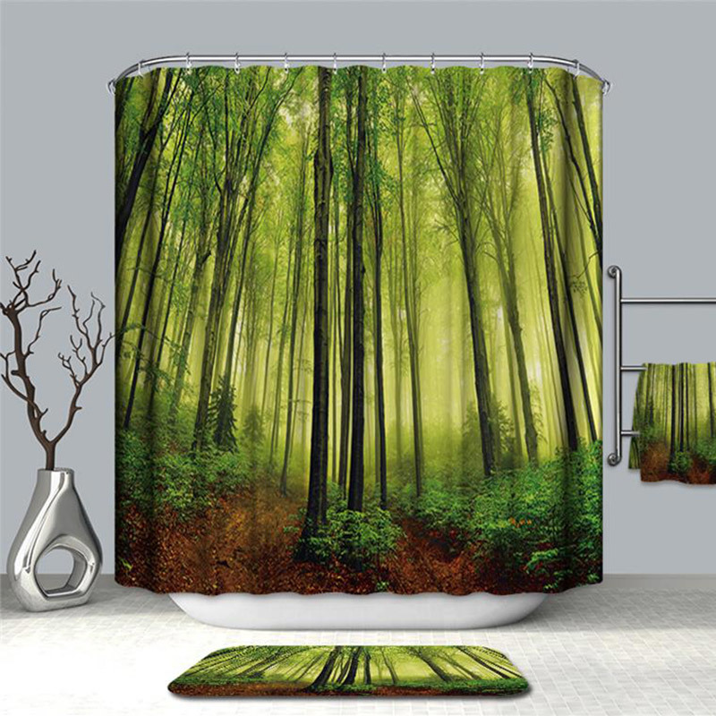 Image 2 - VOZRO Shower Curtain Of Natural Quality Of Waterproof Polyester 2 M 3d Decoration Simple Shower Douchegordijn Youtube Bape Groot-in Shower Curtains from Home & Garden