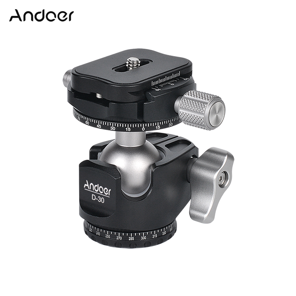 Andoer D 30 Double Panoramic Head CNC Machining Ball Head Design Low Center of Gravity for