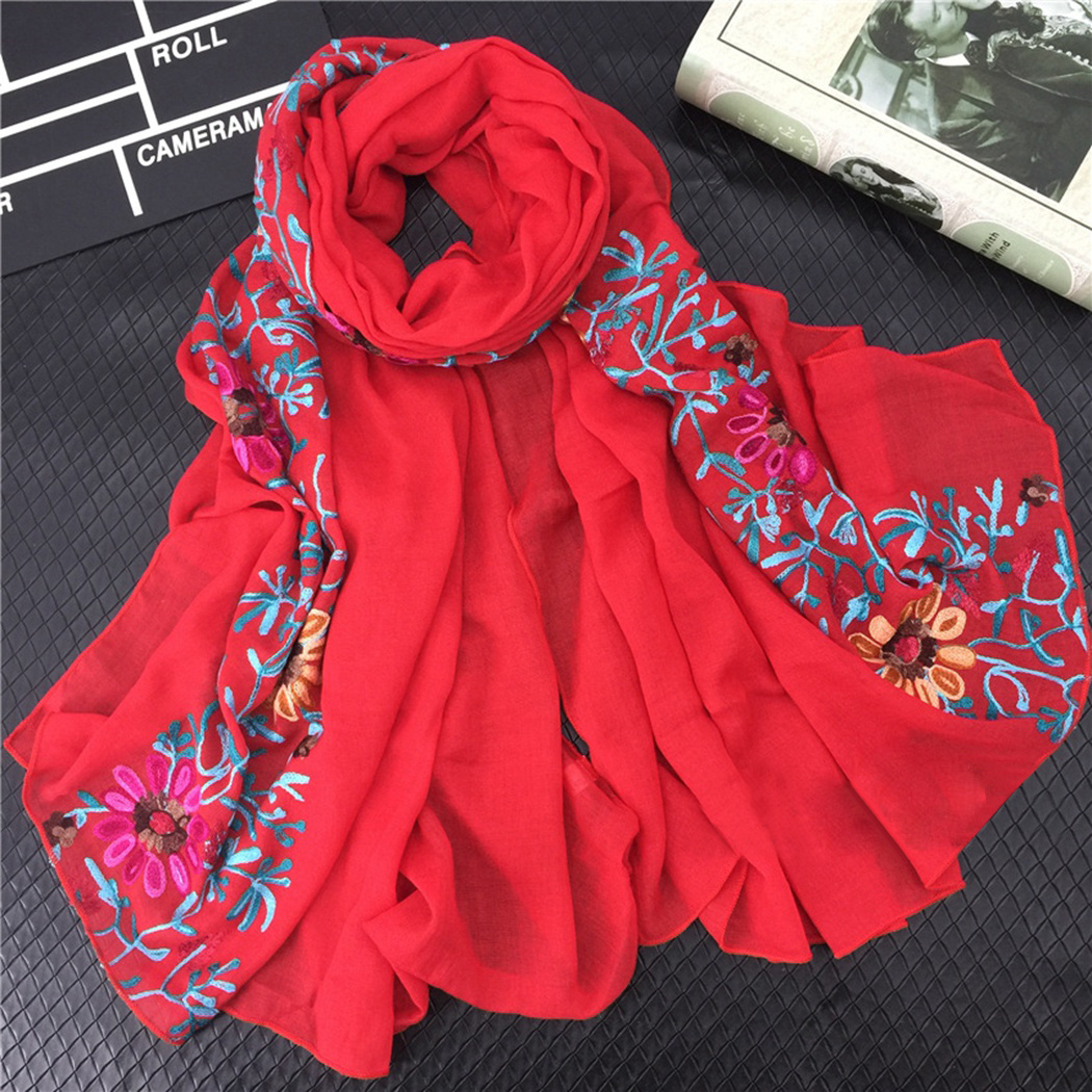 Foulard 180*90 Embroidered   Scarf   Shawl   Wraps   Women From Indian Bandana Ethnic Style Print Cotton   Scarves   Muslim Hijab Foulard