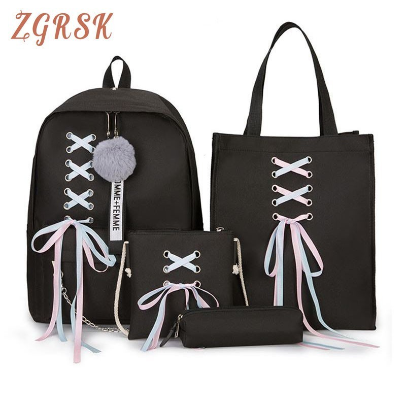 4 Pcs Set Fashion Backpack Women Leisure Back Pack Japan Ladies Knapsack Casual Women Teenage Girls Classic Bagpack School Bags(China)