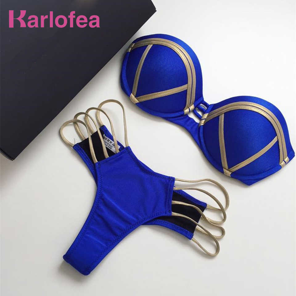 Karlofea Gold Stamping Strapless Beach Two Piece Set Sexy Women Push Up Padded Top And Shorts Brazilian Biquini Beach Party Suit