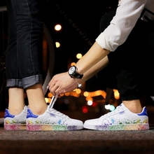 2018 Fashion Men Vulcanized Shoes Lace-up Casual Unisex Couple Shoes Breathable Walking Canvas Shoes Graffiti Large Size 45 46