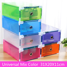 5PCS Eco-Friendly Shoe Storage Box Case Transparent Plastic  Rectangle PP Organizer Thickened drawer
