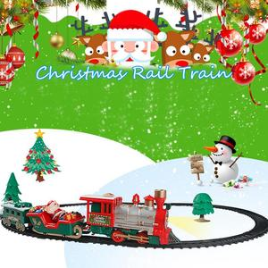 Image 5 - 22PCS Children Track Small Train Toy Electric Light Music Train Simulation Classic Power Train Set new year Holiday Gift for kid