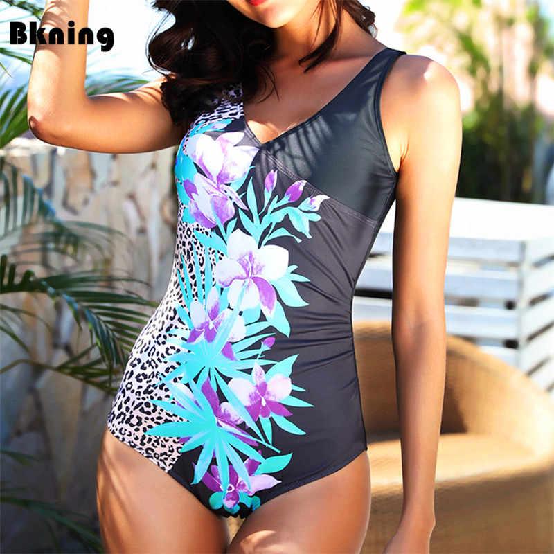 Bkning 5XL плюс размер купальный костюм Цельный купальник с цветочным принтом монокини с широкими ремешками купальник большой жир трикини большой 2019 3XL