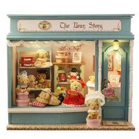 Bear House DIY Toys Wooden Miniature Dollhouse Model Music Box Kids Gift Furniture Casa Doll Accessory Dolls Houses Lovely Gift