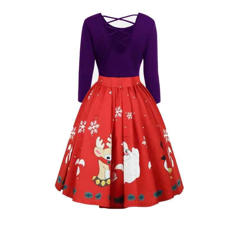 8ae8e7d8cc3 Plus Size 5XL Womens Dress Fashion Autumn Ladies Christmas Print Sexy  Backless O-neck Long