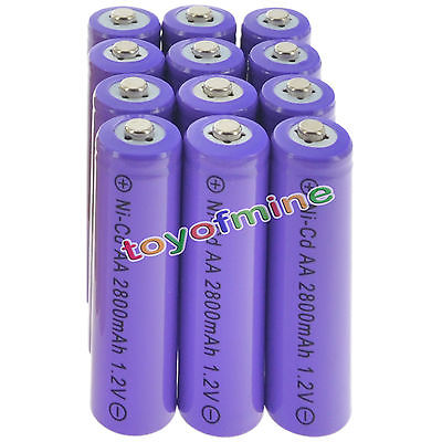 12pcs <font><b>AA</b></font> <font><b>NiCd</b></font> 2800mAh <font><b>1.2V</b></font> Rechargeable <font><b>Battery</b></font> Garden Solar Light Lamp purple CELL image
