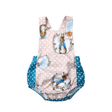 Newborn Baby Boys Girls Easter Rabbit Bodysuit Sleeveless Ju