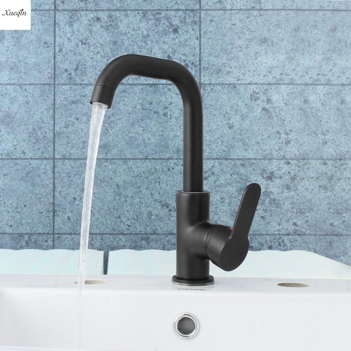 Brass Black Painted 360Rotation Bathroom Sink Faucet Spout Single Handle Kitchen Basin Faucet Hot and Cold Water Mixer Tap