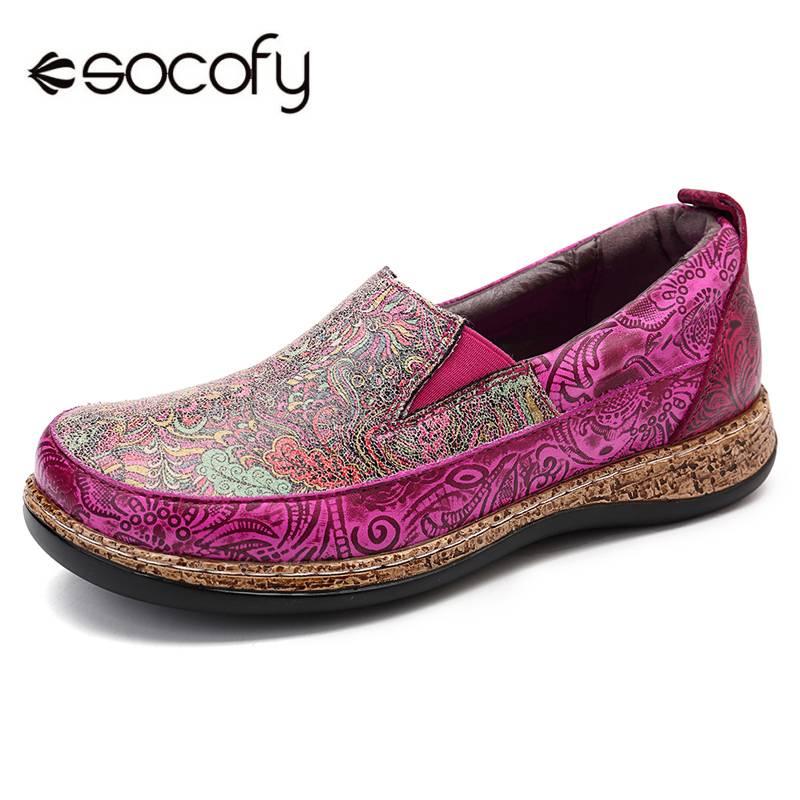 SOCOFY การพิมพ์รูปแบบ Slip บนรองเท้าหนังแท้ Loafers Retro Splicing หนังแบนรองเท้า intage ดอกไม้ผู้หญิงแบน-ใน รองเท้าส้นเตี้ยสตรี จาก รองเท้า บน   1