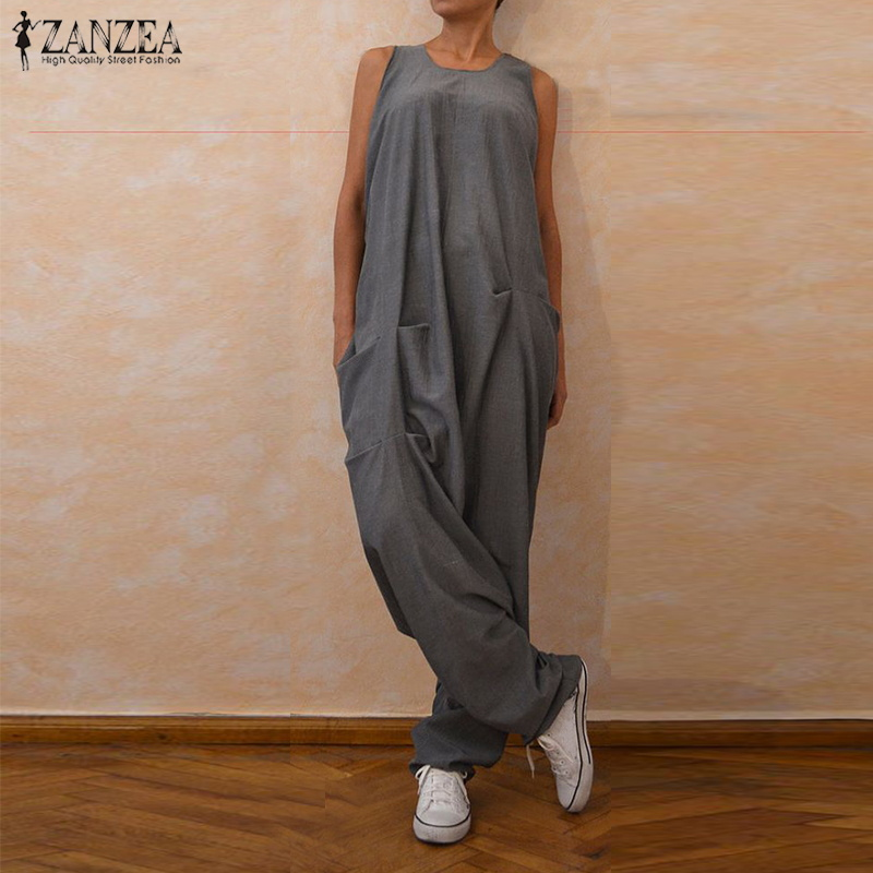 ZANZEA 2019 Women Summer Sleeveless   Jumpsuits   Loose Solid Overalls Female Robe Suspenders Drop Crotch Harem Rompers Casual Pants