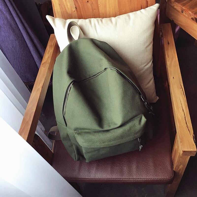 Canvas Plain Women Backpack New Japan Ring Leisure Travel Backpack For Girl Female Shoulder Bag Rucksack Mochila My Bagpack #2
