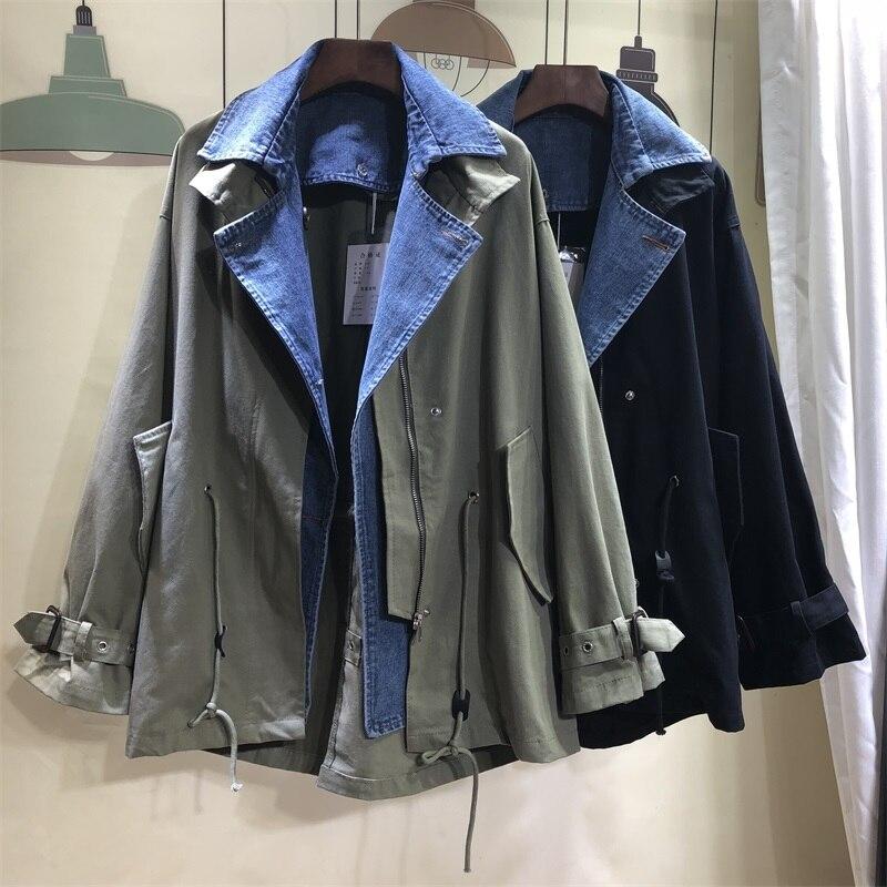 DEAT 2019 new summer thin styles turn down collar full sleeves denim spliced A line jacket