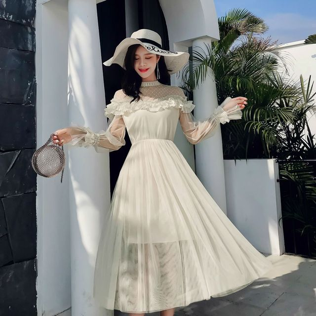New 2019 Spring Autumn Women dress Flare Sleeve Patchwork Mesh Turtleneck Half A High end French Lace Dresses Blue Apricot 9086