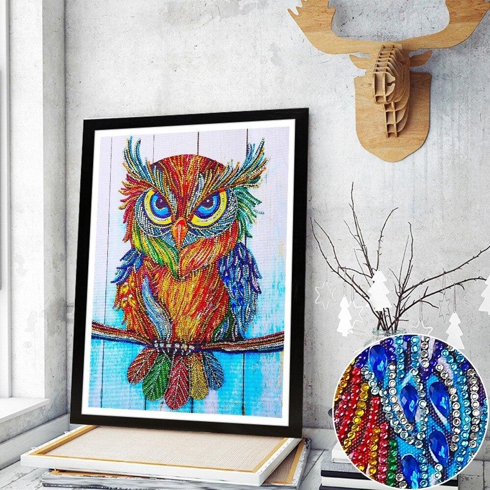 Huacan Animal Special Shape Diamond Painting Picture Of Rhinestone Beadwork Owl Diamond Mosaic Sale Craft Kit Home Decor 40x30cmHuacan Animal Special Shape Diamond Painting Picture Of Rhinestone Beadwork Owl Diamond Mosaic Sale Craft Kit Home Decor 40x30cm