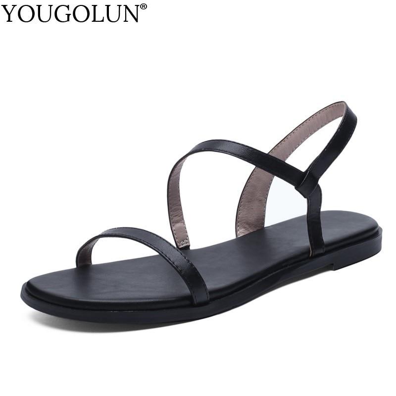 Women Flat Sandals Genuine Leather Summer Ladies Flat Open toe Sandal Casual Woman Beige Army Green