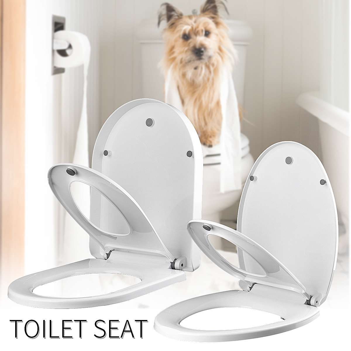 1Pcs U Type V Type Replacement Universal Toilet Seat Lid Cover Set Square Round Bathroom White Thicken 2Types Antibacterial