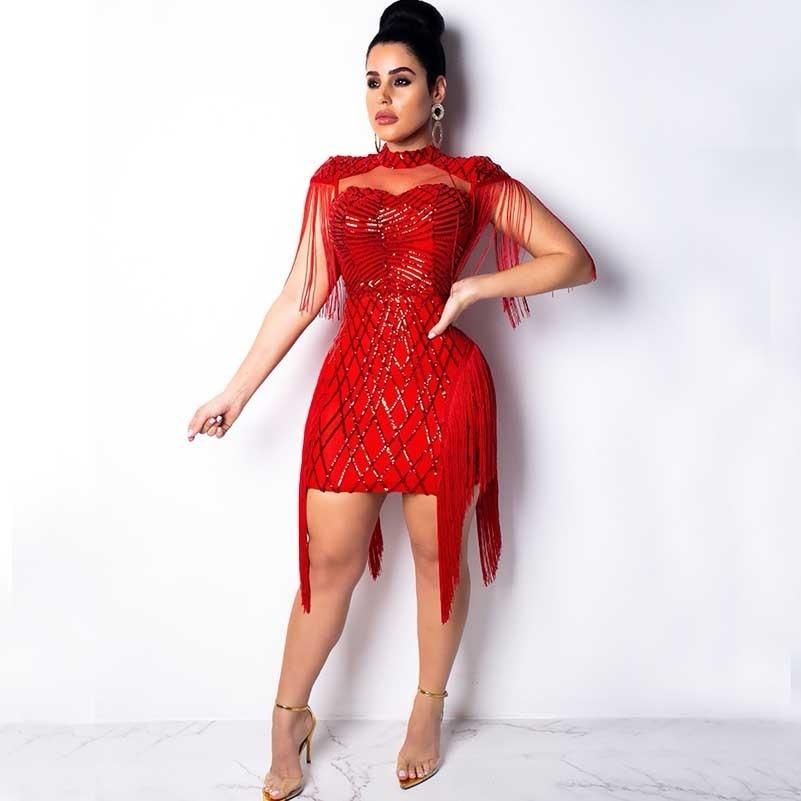 e9632bf6e16 fashion sexy red sequin dress women glitter patchwork fringe club short  bodycon ladies dresses vestidos party