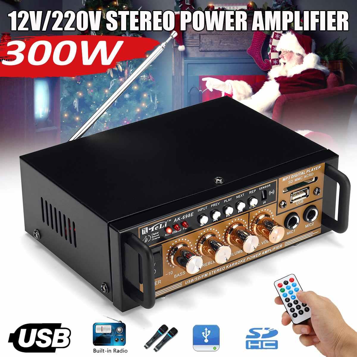 AK-698E 300 W 12 V/220 V Mini Amplificador Audio amplificateurs de puissance stéréo HIFI FM Radio USB/TF 2CH pour voiture amplificateur Home cinéma
