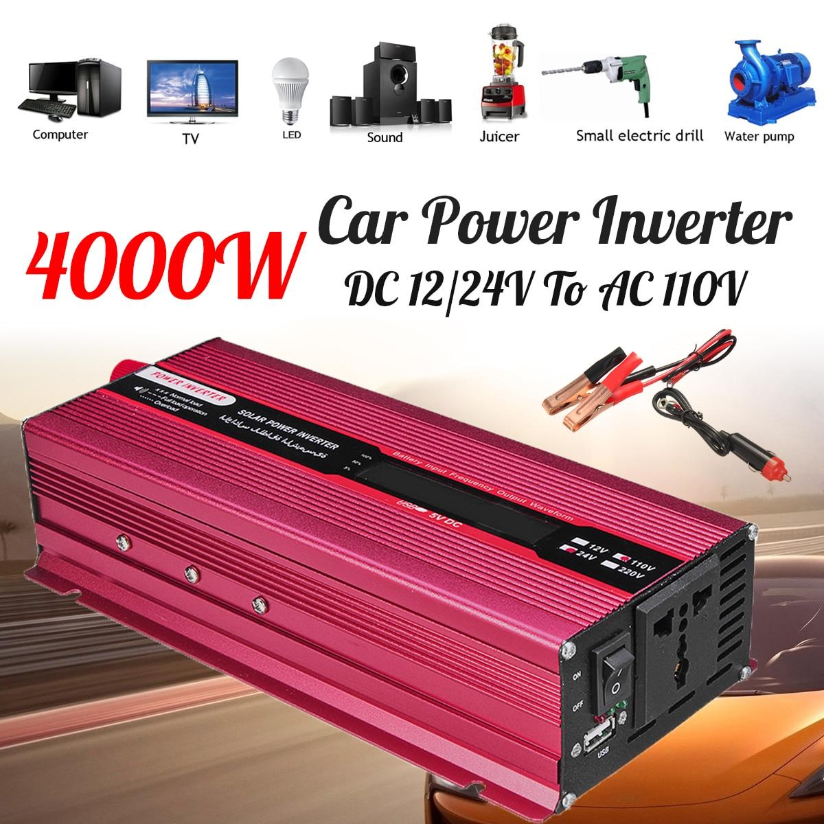 Модифицированный синус Преобразователь волна автомобиля Мощность Пик инвертор 4000 Вт 12/24 В к AC 220/110 В USB трансформатор Напряжение Дисплей эфф...