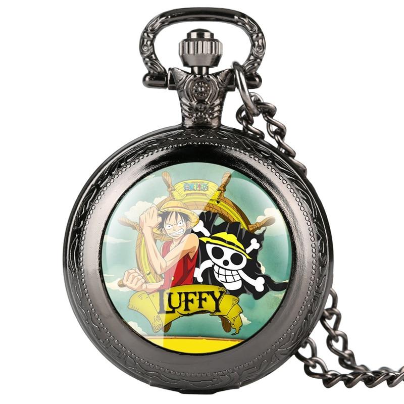Loki Mens Vintage Pocket Watch ONE PIECE Pattern Pocket Watches For Boy Arabic Digital Scale Quartz Pocket Watch Analog Pendant
