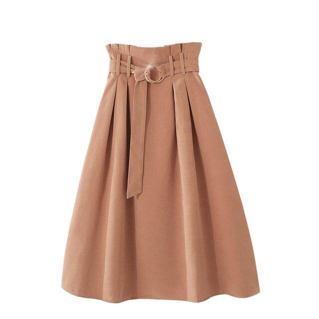 PEONFLY  Elegant Midi Long Skirts Women 2019 Autumn Winter Korean Suede Velvet Skirt Female A-line High Waist Pleated Blue Skirt 5