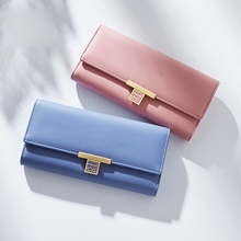 Ladies Clutch Bag Fashion Long Multifunctional 3 Folder Wallet Leather Trend Female