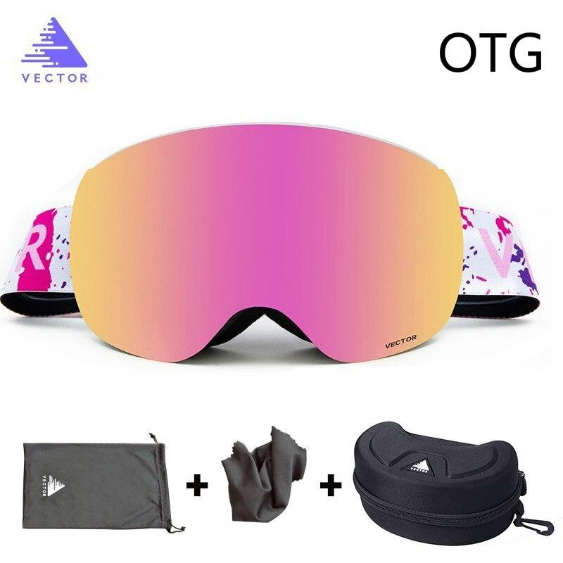 OTG lunettes de Ski avec étui lunettes de neige revêtements Anti-buée interchangeables lentilles sphériques à Double couche lunettes de soleil Snowboard