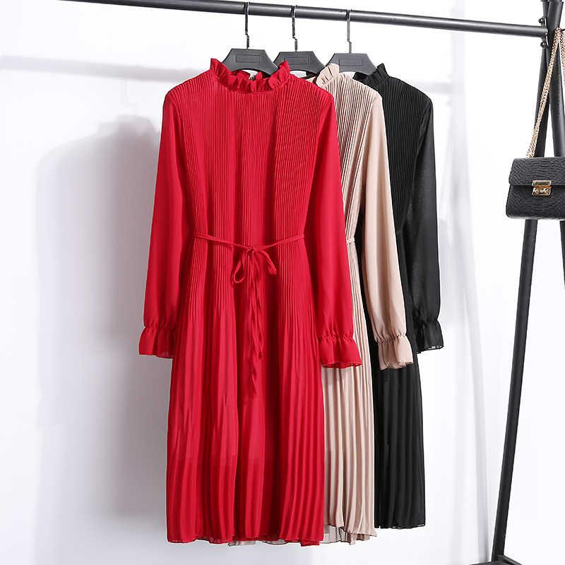 c24138e585533 2019 New Fashion Spring Autumn Chiffon Dresses Women Print Dress Casual  Cute floral Long Bowknot Dresses Long Sleeve Thick Dress