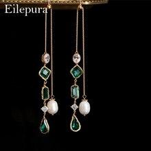 Eilepura Natural Fresh Water Pearl Colorful Stone Drop Earrings For Women Bride Wedding Party Fine Jewelry Bijou E-A024