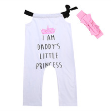 2ae82e83a135 2019 Canis Summer Daddy Girl Toddler Baby Halter Romper Princess White Jumpsuit  Outfit Set Headband Casual
