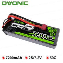 OVONIC 7200mAh Lipo 2S Batteries Pack 7.4V Deans Plug Hard Case Power for Redcat Racing 1/8 1/10 Size RC Car Buggy Truck