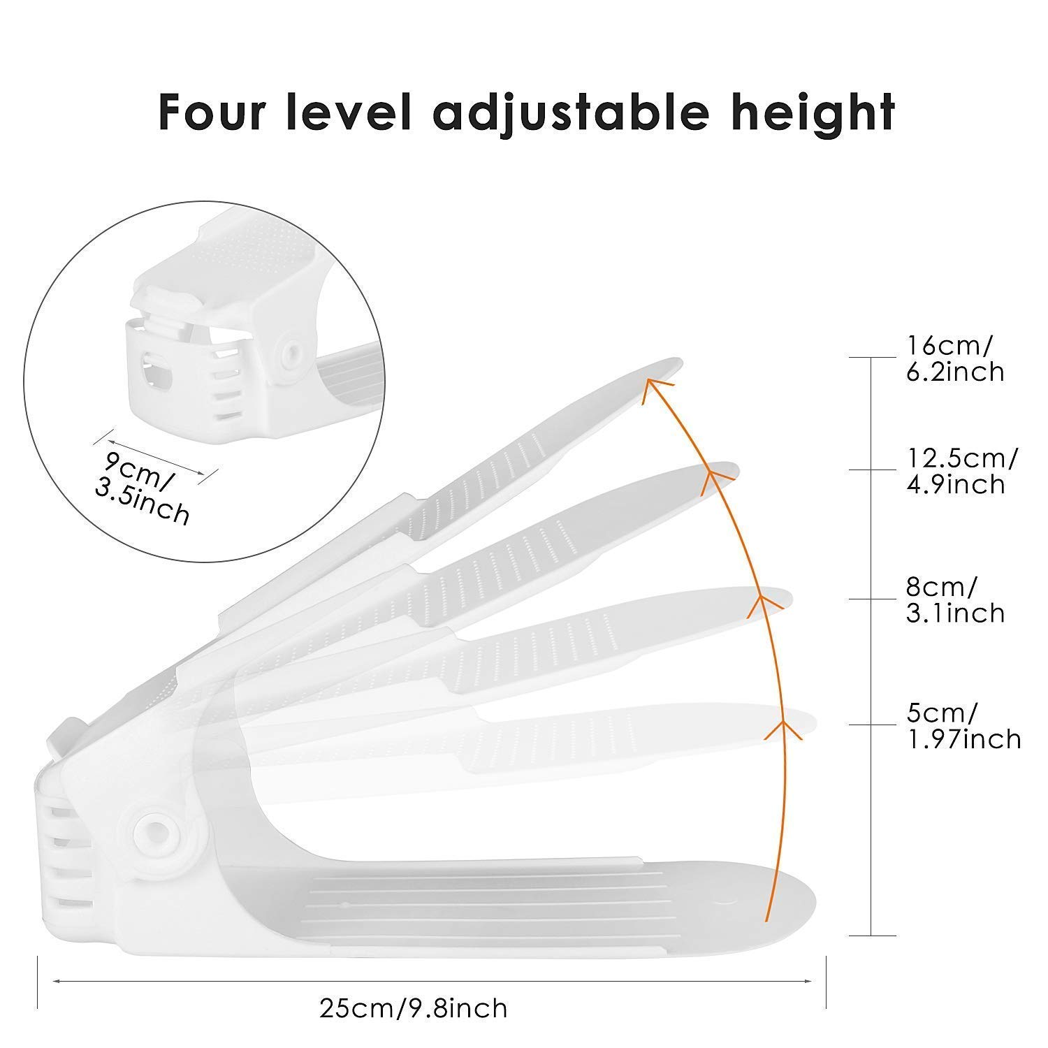 Image 4 - Best Lot DE 10 Adjustable Shoe Support For To Stack Shoes Shoe Organizer Space Saver a Shoes Support Rack Plastic White-in Shoe Racks & Organizers from Home & Garden