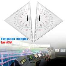 2Pcs 300mm Acrylic Navigation Triangular Protractor Measuring & Gauging Tools Hypotenuse Nautical Squares 34x24x24cm Clear
