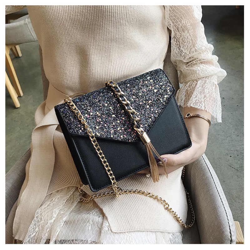 2019 ファッション女性甘いメッセンジャーバッググリッタースパンコールクロスボディショルダーバッグ小封筒バッグパーティークラッチバッグ OC197