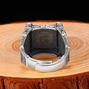 Image 4 - ZABRA Adjustable Size 925 Sterling Silver Skull Rings For Men Zircon Ring Vintage Puck Rock Biker Jewelry