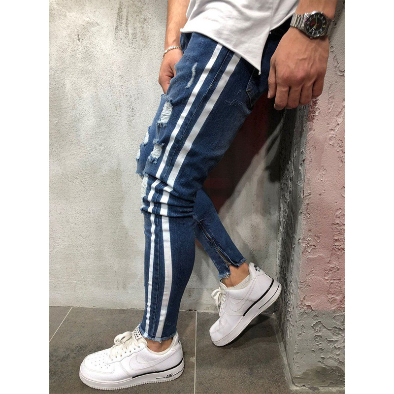 Men Ripped Skinny Jeans White Side Stripe Jeans Stretch Slim Fit Elastic Biker Jeans Male Big Size Ankle Tight Guys