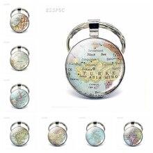 Asia Countries Map Glass Pendant Keychain Turkey Thailand Israel Malaysia Fashion Souvenir Keyring Jewelry Gift For Women Men