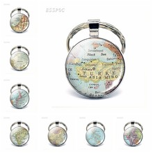 Asia Countries Map Glass Pendant Keychain Turkey Thailand Israel Malaysia Fashion Souvenir Keyring Jewelry Gift For Women Men(China)