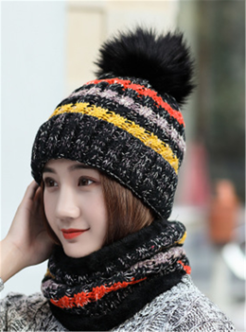 Women Girls Knitted Scarf Beanie Pompom Hat Set Warm Winter Thick Thermal Cap Knitted Women Hat Slouchy Beanie Girls Skullies