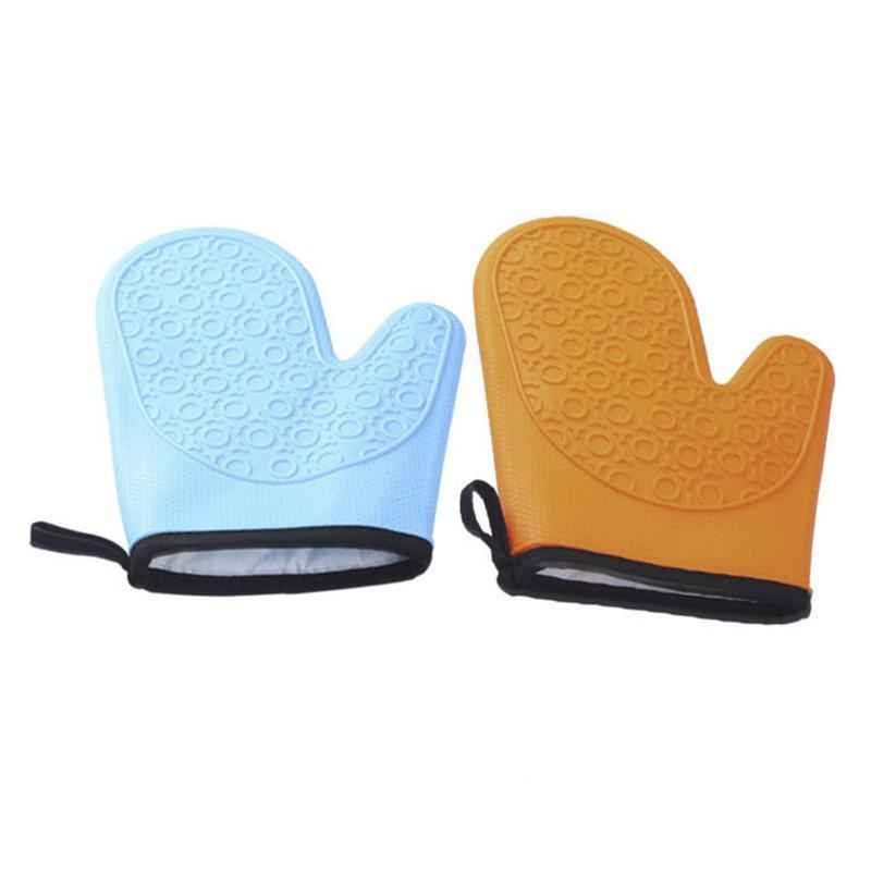 Silicone Microwave Gloves Thickened Cotton Insulation High Temperature Resistant Hot Baking Oven Gloves Non-slip Pot Holder