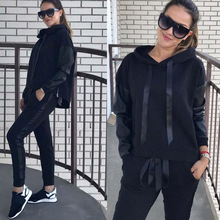 2019 Autumn Tracksuit 2 Piece Set Women Streetwear Casual Matching Sets Loose Two Piece Set Top and Pants Fitness Clothing instahot grey tracksuit reflective flash side zip buckle women two piece set autumn crop top cargo pants casual streetwear sets