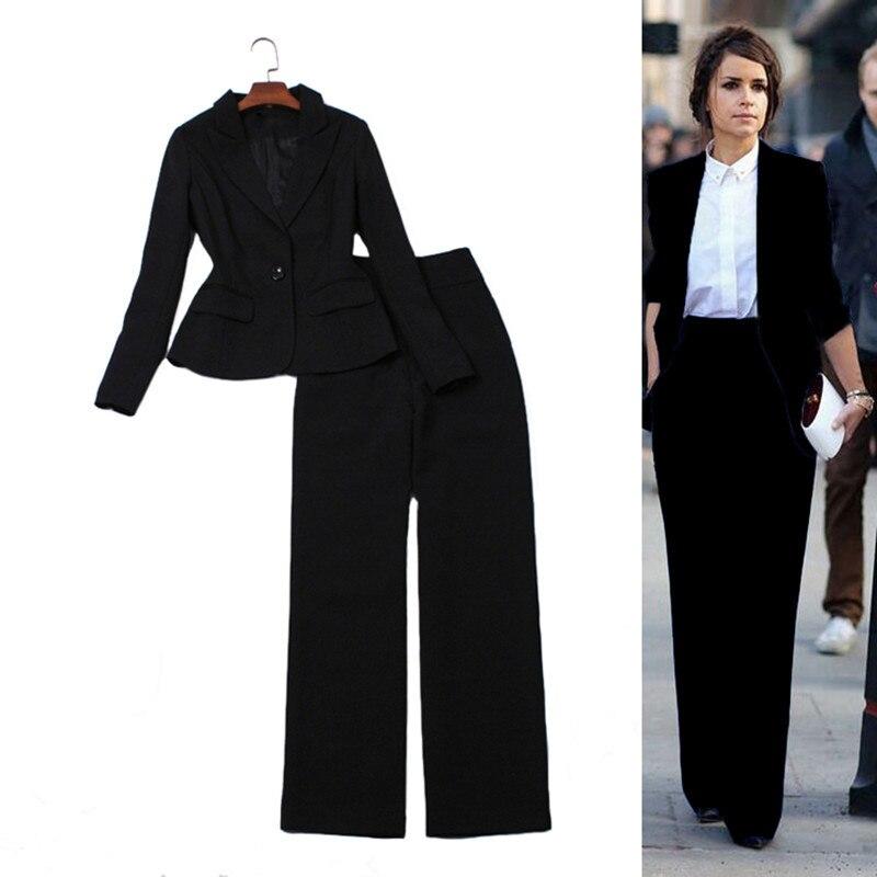 Haute qualité piste Long pantalon costumes décontracté bureau affaires costumes formel travail porter ensembles élégant pantalon ensemble blanc noir