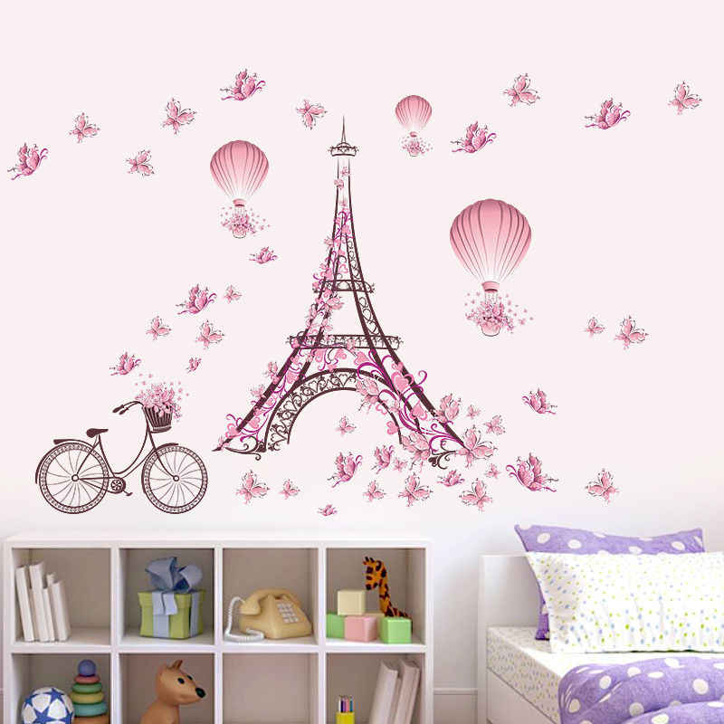 Pink Flower Bicycle Paris Tower Wall Stickers Vinyl Decal Mural Art Butterflies Romantic Eiffel Tower DIY Wedding Bedroom Decor