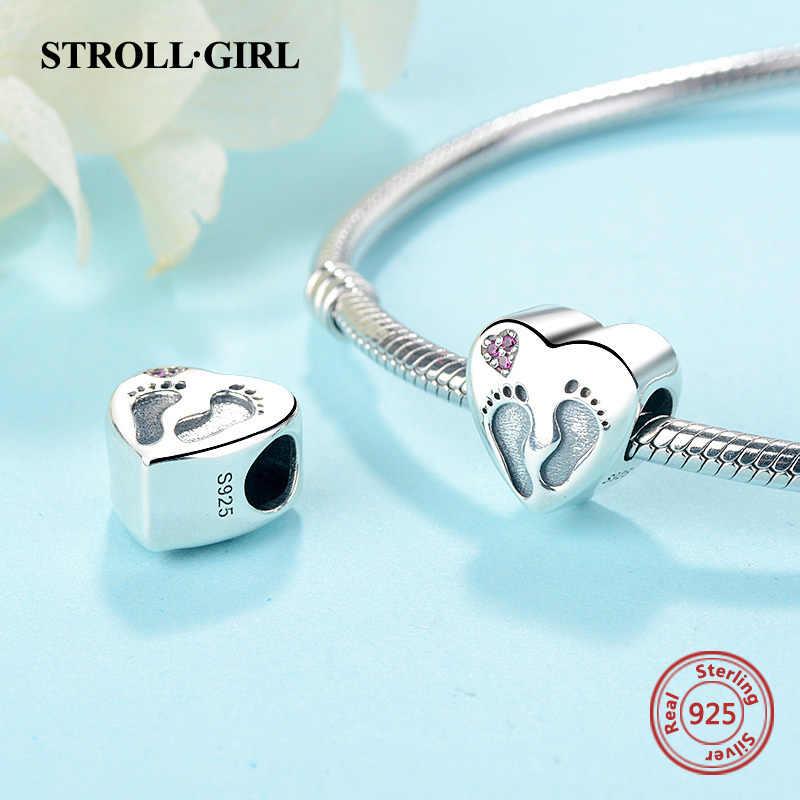 StrollGirl 925 srebro serce ślady wisiorki koraliki fit autentyczne bransoletka typu charm Pandora tworzenia biżuterii na prezenty