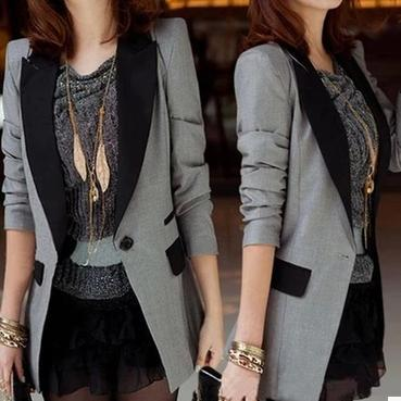 XXXL New Fashion Spring Summer Women Outerwear Slim Long Blazer  Black Gray Office Lady Coat