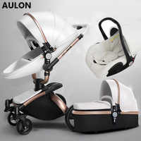 Aulon baby stroller 3 in 1  baby stroller pu leather can sit and lie four seasons winter Russia free shipping